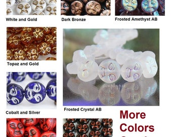 Moon Face Beads Czech Glass Beads 20 Pcs Ur Pick Frosted Crystal AB Cobalt Silver Bronze Amethyst Red Topaz White Gold
