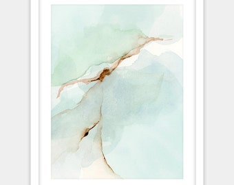 Abstract watercolor print, gold green art coffee teal turquoise, peaceful home decor, contemporary watercolor painting print