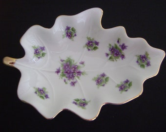 Vintage Lefton China Hand Painted Leaf Dish with Flowers