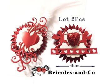 Valentine's day Rosette decoration pattern red size 6 cm. Set 2Pcs