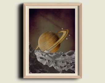 Vintage Style Print Looking at Saturn Wall Art Home Decor
