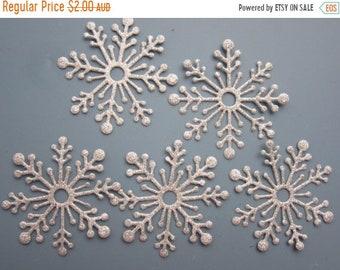 Half Price Sale Set of 5 Large snowflakes, 5cm across