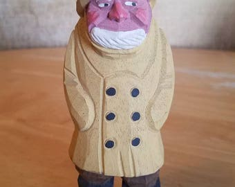 Hand Carved Wooden Fisherman Sculpture