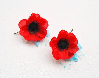 Red Anemone Poppy Bobby Pins, Anemone Bridal Weddings Accessories, Anemone Poppy Flower Girls Bobby Pins, Red Blue Hair Flowers, Poppies Pin