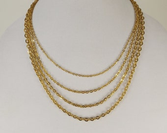 Four Strand Gold Tone Chain Necklace