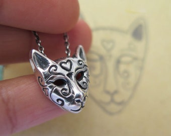 Cat Necklace,Cat Mask Necklace,sterling silver pendant