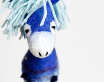 Felted Donkey. Felt Toy - Nicolas. Marionette PuppetArt  Needle Felted Animals  Stuffed toy plush, kids room decor blue, electric, night sky