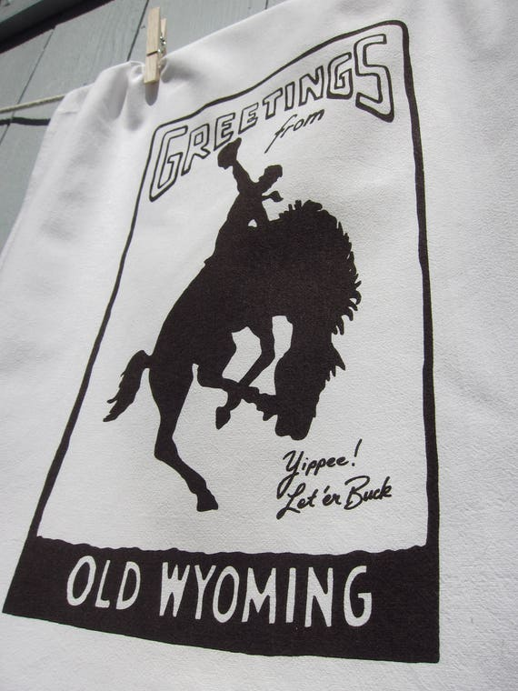Greetings from Old Wyoming Souvenir Tea Towel