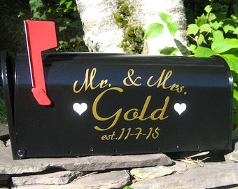 Custom Wedding Card Mailbox Vinyl LETTERING - Gold or Silver Metallic Vinyl - Personalize Your Own Wedding Card Box