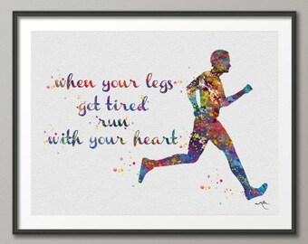 Runner Man Watercolor Art Print Running Quote Art Wall Art Poster Wall Decor Art Marathon Home Decor Sport Wall Hanging [NO 648]