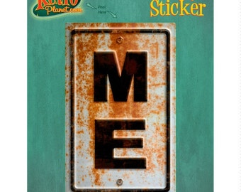 Maine ME State Abbreviation Rusted Vinyl Sticker #52323