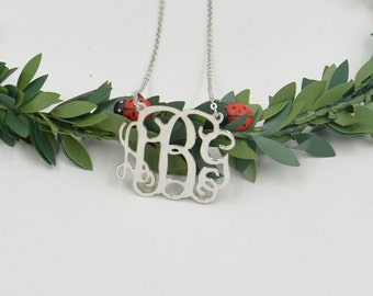 Handcrafted monogram necklace,silver initial necklace,Personalized monogrammed necklace for women