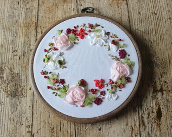 gift for mother, gift for mum, floral arrangement, floral wreath arrangement, in memory, memorial wreath, silk ribbon embroidery, rose theme