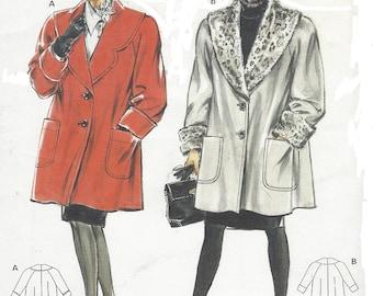 1980s Womens Raglan Sleeve Coat Wide Collar and Cuffs Burda Sewing Pattern 4920 Size 12 14 16 18 20 22 Bust 34 to 44 UnCut