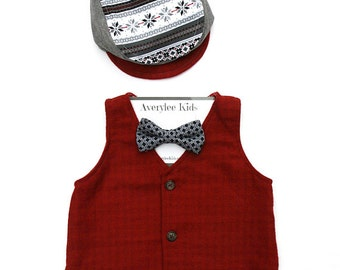 Boys Vest, Boys Red Vest, Toddler Vest, Toddler Red Vest, Boys Christmas Vest, Ring Bearer Outfit, Page Boy Outfit, Photo Prop, Boyish Charm