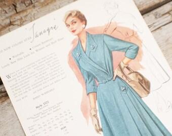 Fashion Frocks, Style Card, 1950s ,Mad Men , retro clothing, style 1572, clothing, dressmaker, seamstress gift, lookbook, cincinnati ohio,