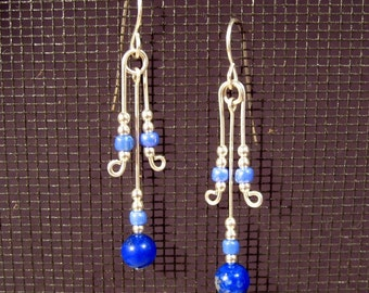 Sterling Silver Lapis Lazuli  V-dangle Earrings