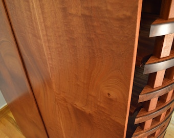 Stereo Cabinet featuring Bent African Ribbon Sapele