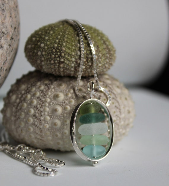 Drops in the Ocean sea glass necklace in aqua, teal, olive and white