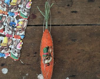 Large Antique German style Easter spun cotton wire wrapped victorian scrap carrot