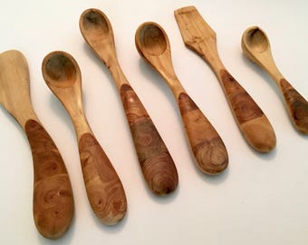 Carved Wood Utensils Spoons and Spreaders with Gorgeous Burl Wood Handles SET OF SIX
