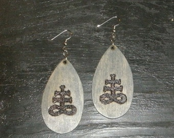 Brimstone Sigil Earrings (Pyrography) You Pick the Color, Free US Shipping