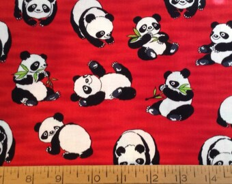 3/4 yard of Pandas on red background cotton fabric