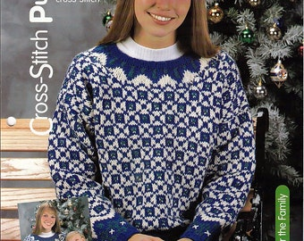 Cross Stitch Pullover / Knit Pattern / House of White Birches 127107