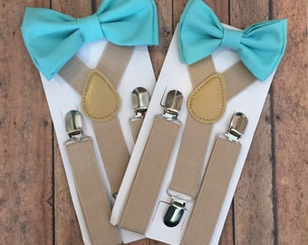 Bowtie & Suspender Set/ Turquoise Bow tie/ Turquoise Bowtie/ Tan Suspenders/ Toddler Suspenders/ Adult Suspenders/ Turquoise/ Bowtie