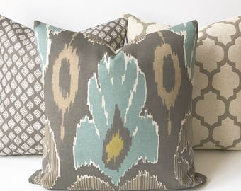 Ikat decorative pillow cover, spa teal blue, brown and grey, throw pillow