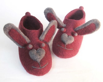 Felted Bunny Slippers - Custom Wool Colors - Minimalist Shoes - House Shoes - Womens Shoes - Rubber Soles - Christmas in July