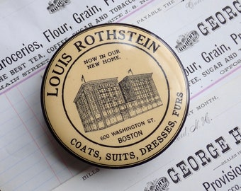 Antique advertising pocket mirror, Louis Rothstein Boston, Department store advertising, Parisian Novelty Co. Chicago celluloid mirror