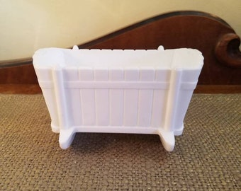 "Vintage Milk Glass Cradle Planter - 5 1/8"" Long - Wooden Rocking Cradle Design - Vintage Baby Cradle Planter"