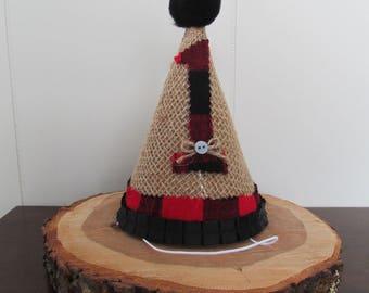 Lumberjack First Birthday Hat, Lumberjack Party Hat, Buffalo Plaid Party Hat, Red Black Plaid Hat, First Birthday Party Hat, Lumberjack Hat