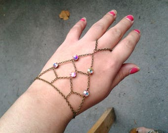 Rainbow Gems Slave Bracelet Bohemian Net Slave Bracelet Boho Hand Chain Rare Antique Gems Ring Harness Bracelet Mother's Day Gift For Her
