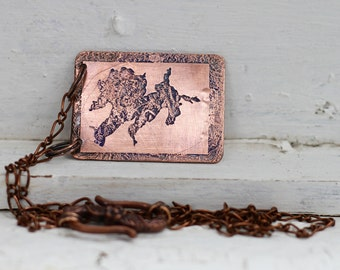 Leech Lake MAP Copper Necklace, GPS Location Coordinate Jewelry, MN Jewelry, Latitude Longitude Jewelry, Copper Anniversary, 7 Year Copper