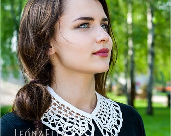 White crochet collar with shamrocks Detachable Peter Pan collar Floral design Dress Fashion accessories Gift for women Festival clothing