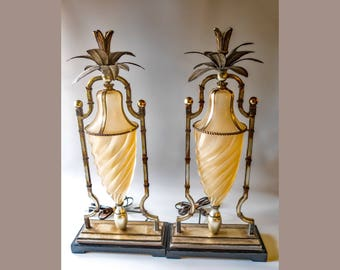 Vintage Uttermost Art Deco Style Pineapple Table Lamps