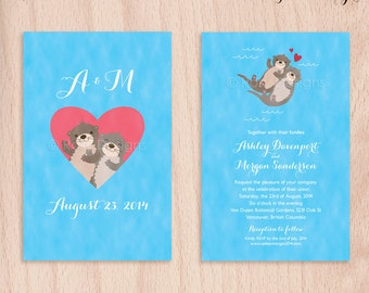 Custom Otters in Love Wedding Invitation Cards