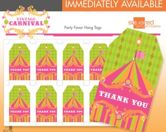 Circus Favor Tags - Printable Vintage Carnival Birthday Party - DIY Print - Hot Pink - Instant Download
