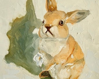 "Bunny Rabbit small still life ORIGINAL oil painting by Karen Barton 5""x7"""