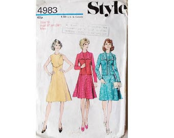 """Vintage 70's Style 4983 Sleeveless Dress and Jacket Suit Sewing Pattern Size Bust 38"""" UK 16"""