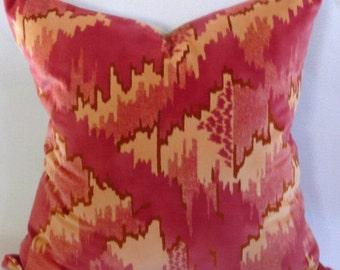 Beacon Hill Coral Cotton Velvet Pillow Cover