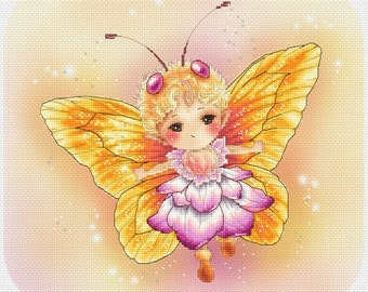 Cross stitch Chart Pattern Flower Sprites - Yellow Butterfly Sprite - Mitzi Sato-Wiuff
