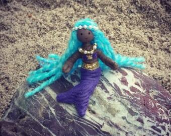 Mermaid Doll  - African American - Mermaid Birthday - Little Mermaid -  Black Doll Handmade Bendy Doll - Purple