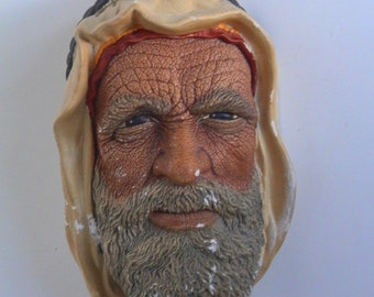 Vintage 1972 Bossons England SYRIAN Wall Ornament, 3D Chalkware Bust, Bossons Head