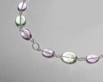 Pastel Delight - Green And Pink Amethyst in Sterling Silver Necklace
