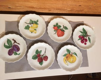 Limoges Dessert Plates - Fruit Patter - Set of 6