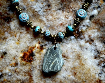 Boho Wire Wrapped River Rock Teal Beaded Choker Necklace