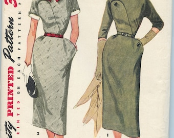 Vintage 50s Tailored Dress with DETAILS! Simplicity 4465- Bust 32- Size 14